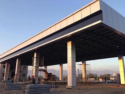 Galvanized Steel Truss Space Frame Structure Bustrain Station Canopy