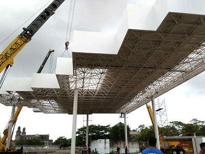 Steel Space Frame Structure Gas Station Canopy